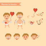 Cupid angels icons set - little boy Stock Photography