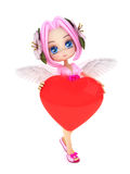 Cupid anime with wings and a heart Stock Images