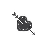 Cupid arrow in heart icon vector, filled flat sign, solid pictogram isolated on white. Stock Images