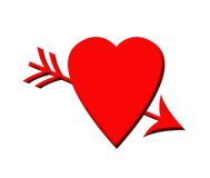 Cupid arrow and love heart Stock Images