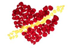 Cupid arrow in a red rose petals heart shape Royalty Free Stock Photography