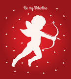 Cupid be my Valentine card. Vector Valentines day greeting card. White silhouette of a cupid shooting arrow and white hearts pattern on a red gradient background Stock Image