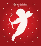 Cupid be my Valentine. Vector Valentines day bi colour greeting card. White silhouette of a cupid shooting arrow and white heart pattern on a red gradient Royalty Free Stock Image