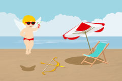 Cupid in the beach Royalty Free Stock Photography