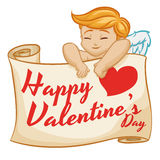 Cupid Behind a Big Scroll with Valentine's Day Message, Vector Illustration Stock Photos