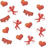 Cupid and a big red heart on the background. Stock Photography