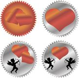 Cupid and a big red heart on the background. Royalty Free Stock Photo