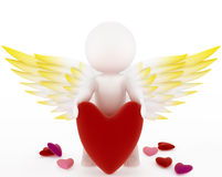 Cupid with a big red velvet heart Stock Photos