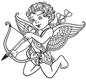 Cupid black and white Stock Photography