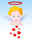 Cupid Blowing Hearts Royalty Free Stock Photos