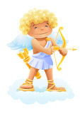 Cupid with bow and arrow. Illustration isolated on white background Stock Photography