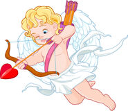 Cupid with Bow and Arrow Aiming at Someone stock illustration