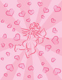 Cupid with Bow and Arrow Ink Brush Pink Background Royalty Free Stock Photo