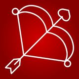Cupid bow with arrow line icon, valentines day. And romantic, love sign vector graphics, a linear pattern on a red background, eps 10 Royalty Free Stock Photo