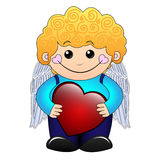 Cupid boy. Cute little curly boy holding a red heart. EPS 10 Valentine illustration Stock Photos