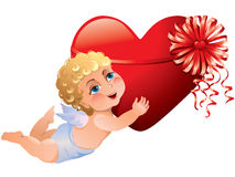 Cupid brings heart Stock Image