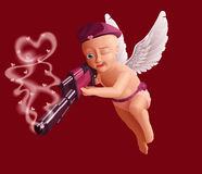 Cupid carries a gun. Cute baby cupid with white angel wings, holding a heavy gun Royalty Free Stock Images