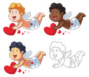 Cupid Cartoon Character with Red Heart Royalty Free Stock Photography