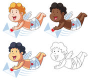 Cupid Cartoon Character with Red Mail Royalty Free Stock Photo