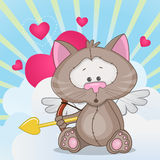 Cupid Cat. With a bow on a background of clouds and hearts vector illustration