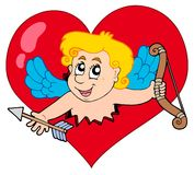 Cupid che si apposta dal cuore Fotografia Stock
