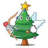 Cupid Christmas tree character cartoon. Vector illustration Stock Photos