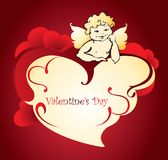 Cupid with on a cloud in the form of a heart. Valentine`s Day. Vector vector illustration