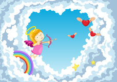 Cupid in the clouds background Stock Photos