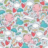 Cupid with clouds seamless pattern. Royalty Free Stock Photography