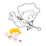 Cupid coloring book. Cute Angel and bow and arrows.  Stock Photography