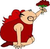 Cupid com as rosas de uns dúzia vermelhos ilustração royalty free