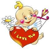 Cupid com coração Foto de Stock Royalty Free
