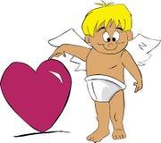 Cupid com coração Fotos de Stock Royalty Free