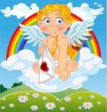 Cupid com letra de amor na nuvem sobre o campo Imagem de Stock