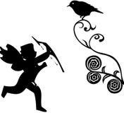 Cupid con l'uccello Immagine Stock Libera da Diritti