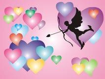 Cupid con los corazones Imagen de archivo libre de regalías