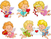 Cupid. Cute Cupid with bow and arrows and hearts. Castomer Valentine stock illustration