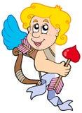 Cupid de espreitamento com curva e seta Fotografia de Stock Royalty Free