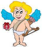 Cupid de la tarjeta del día de San Valentín con el regalo ilustración del vector