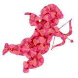 Cupid di giorno dei biglietti di S. Valentino con i cuori dentellare del reticolo Fotografie Stock
