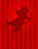 Cupid di giorno dei biglietti di S. Valentino con i cuori sulla carta da parati Fotografie Stock Libere da Diritti