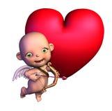 Cupid dos desenhos animados com coração ilustração royalty free
