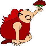 Cupid with a dozen red roses Royalty Free Stock Photos