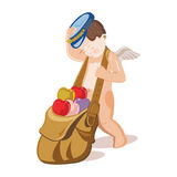 Cupid dragging a bag with multicolor hearts Stock Photography