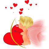 Cupid dreaming. On her heart pillow of the love she will give throughout the world Stock Photo