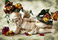 Cupid and dry roses Stock Photos