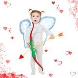 Cupid e cuori fotografie stock