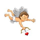 Cupid feliz con el arqueamiento y la flecha Imagenes de archivo