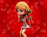 Cupid girl on red background Stock Photo
