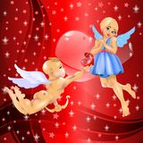 Cupid & Girl Stock Image